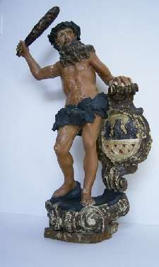 """Wilder Mann"" als Wappenhalter. Barocke Holzfigur aus Eger."